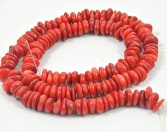"16"" Heishi Red Coral Gemstone Beads Full One Strand Charm 7mm Coral Strand"