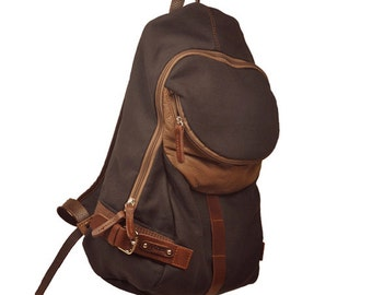 Backpack in  italian linen -cotton canvas with leather details, Nota in Dark grey color.MADE TO ORDER