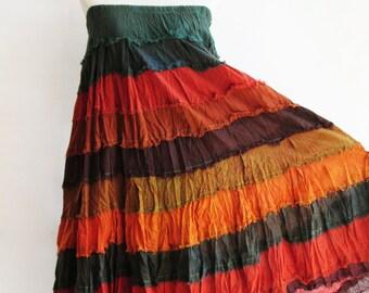 S3, Wavy Hippie Colorful Orange Cotton Skirt
