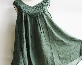 B9, Jade Sleeveless V Neck Green Cotton Blouse