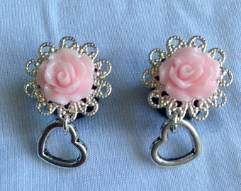 Rose Plugs with Little Heart Dangle (2g, 0g & 00g)