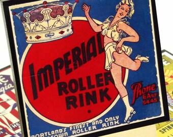 Roller Rink Coaster Set, Roller Skating Wood Coasters, Drink Coasters Set of Four, Roller Skate Party Favor, Hostess Gift, Sports Decor,