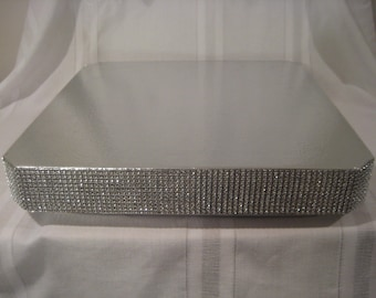 "Bling Wedding Cake Stand 16 inch ""Square Dazzling Diamonds Bling"""