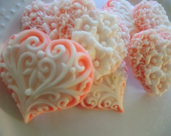 Baby Shower Favor - 40 Heart Soap - wedding favor, orange heart favor