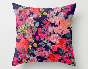 Beautiful Spring Floral Pillow Cover with Vintage Inspired print design. Available in several colors, or customize with your own colors.