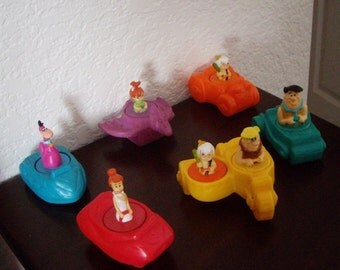 FlintstonesToy Burger King meal toys, complete set of six, 1990 Rare complete set