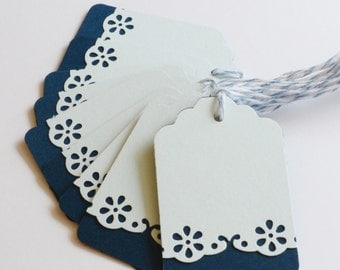 Blue Paper Tags, Gift Wrap, Set of 10, Wedding Reception Tags, Bridal Shower Gift Tags, Elegant Tags