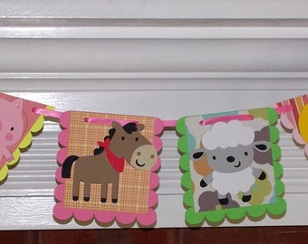 READY TO SHIP Farm Banner Barnyard Animals Banner Farm Baby Shower Decoration Down on the Farm Birthday Party Decoration Barnyard Bash