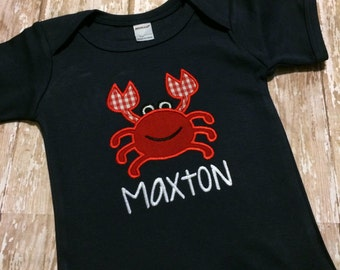 Crab Bobysuit - Baby Boy Summer 4th of July Outfit - Navy Boy Crab Shirt - Custom Baby Shower Gift