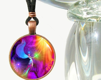 "Rainbow Angel Art Pendant Necklace, Reiki Attuned Jewelry ""The Gift"""