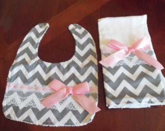 Burp Cloth & Bib Set, Gray Chevron,Pink, Baby Girl Bib, Baby Girl Burp Cloth Set, Baby Shower, Baby Gift, Newborn, Girl Set, Girls Bib Set,