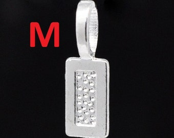 300 pcs. Silver Plated Medium Glue On Bails - 21x7mm