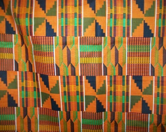 African Fabric Traditional Kente Print in Tangerine, green and black color wholesale 6 yards