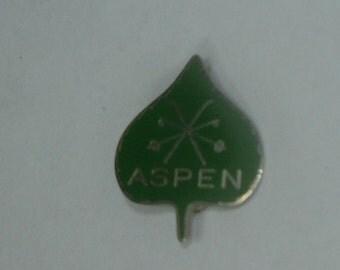 Vintage Silvertone & Green Enameled ASPEN Leaf Ski Badge Pin Brooch