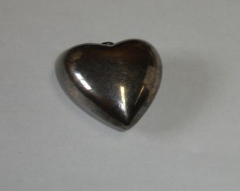 Vintage Silver Plated Large Huge Puiffy Heart Pendant VALENTINE Gift