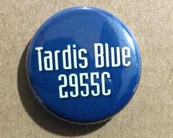 """1"""" Button - Tardis Blue"""