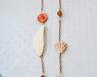 Beach, Button and Shell Necklace