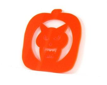 Halloween Ornament Carved Pumpkin Werewolf Design Hand Cut Acrylic