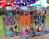Personalized Straw Tumbler - Three Letter Monogrammed cup - Bridesmaid Gift