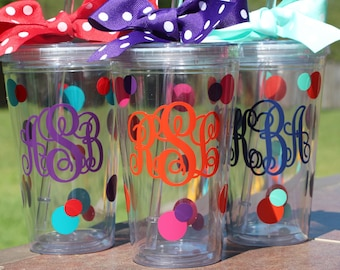 Personalized Straw Tumbler with Bow - Three Letter Monogrammed Cup - Bridesmaid Gift - Friend Gift - Girls Weekend - Beach Cup - Straw Cup