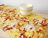 Quilted Table Runner, Autumn Table Runner, Rose Table Runner, Brown and Yellow Table Runner