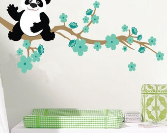 Panda and Cherry Blossom Branch Wall Decals, Boys Bedroom Panda Wall Stickers, Nursery Decals Cherry Blossom Branch