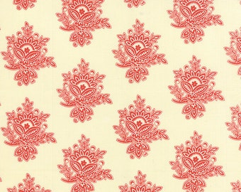Somerset - Mosaic Damask in Creme Poppy by Fig Tree & Co for Moda Fabrics