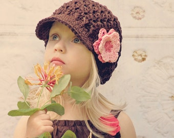 Girl Hat, 12 to 24 Months Girl Newsboy Cap, Girl Visor Hat, Coffee Bean Brown, Rose Pink, Pink Flower. Great for Photo Props. Gift for Girl.