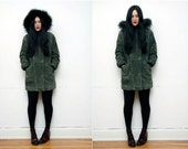 Vintage Green Parka Real Fur and Leather Suede Trench Coat Anorak