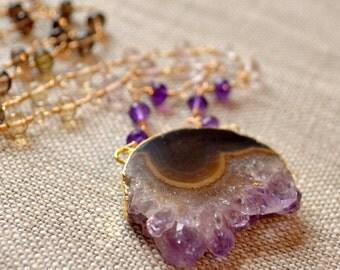 Raw Amethyst Necklace, Smoky Quartz, Ametrine, Champagne Citrine, Gemstone Chain, Large Stalactite Pendant, Gold Jewelry, Free Shipping