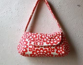 Amy Butler Wallflower Cherry Purse - Red and Ivory Modern Floral Print Small Purse