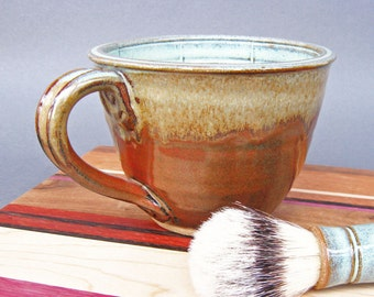 Lather Mug Bowl Large Wet Shaving Green Iron Red