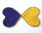Cotton Washcloth Scrubbies - Hearts - Set of 2 - Golden Yellow and Purple