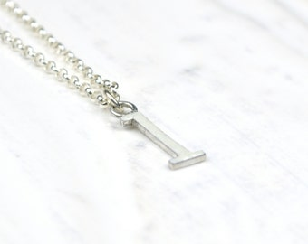 Ivory l Pendant, Enamel Ivory Letter Charm, Lowercase l initial
