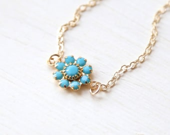 Turquoise Blossom Necklace- on 14k gold filled chain