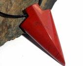 Red Jasper Gemstone Arrowhead Necklace Adjustable Unisex Surfer earthegy