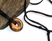 Tigers Eye Gemstone Donut Leather Necklace Adjustable Unisex Surfer earthegy