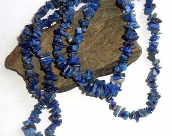 Blue Lapis Lazuli Long Chip Necklace earthegy