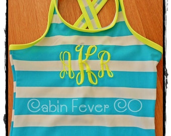 Custom, Personalized Toddler Swimsuit in Two Bright Color Combos, Choice of Monograms