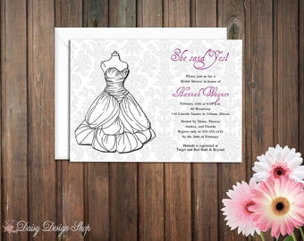 Bridal Shower Invitation - Wedding Dress Sketch on Damask Background