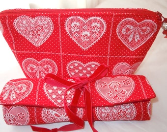 Valentines Gift Jewelry Roll Cosmetic Bag