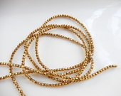 2 mm gold coated hematite faceted  round beads FULL STRAND