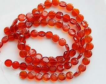 Orange red faceted, glass coin beads , ( 8mm) FULL STRAND