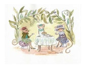 Mouse Time for Tea - original watercolor art print- girl's room - Table for three