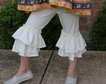 cream off-white double ruffle knit leggings capri length sizes 12m - 14 girls