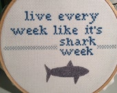 "30 Rock - Tracy Jordan Inspired ""Shark Week"" Cross Stitch"