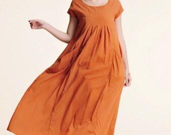 MuMu/ Free style Baby Doll Pleated Linen Long Dress / 25 Colors/ RAMIES