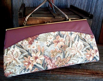 Vintage TAPESTRY PURSE/CLUTCH, Chain Handle Moves Inside 4 Clutch Use, Brownish Maroon Leather Trim, Gold Tone Frame, Floral Cloth Tapestry