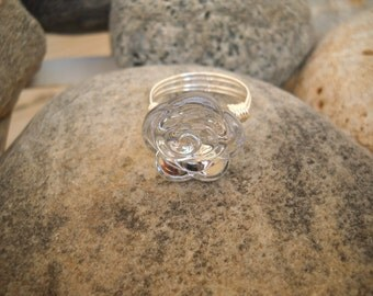 Clear Rosette Button Wire Wrapped Ring