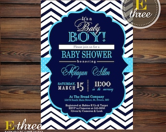 Aqua and Navy Baby Shower Invitation - Baby Boy Shower Invitations - Chevron and Polka dots